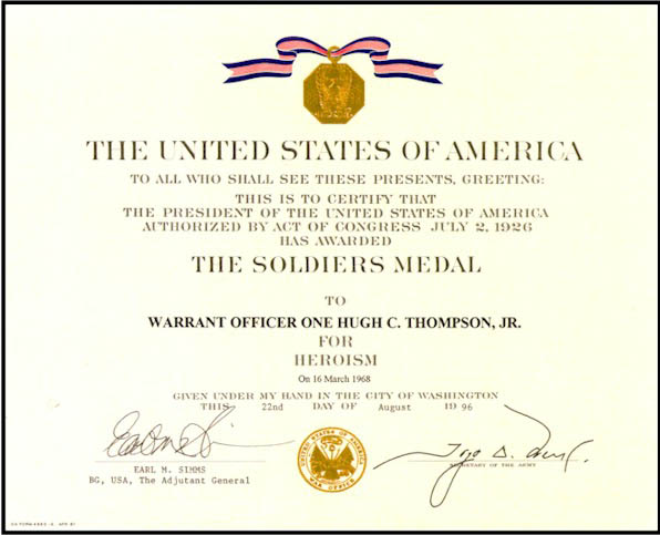 The Soldiers Medal Certificate